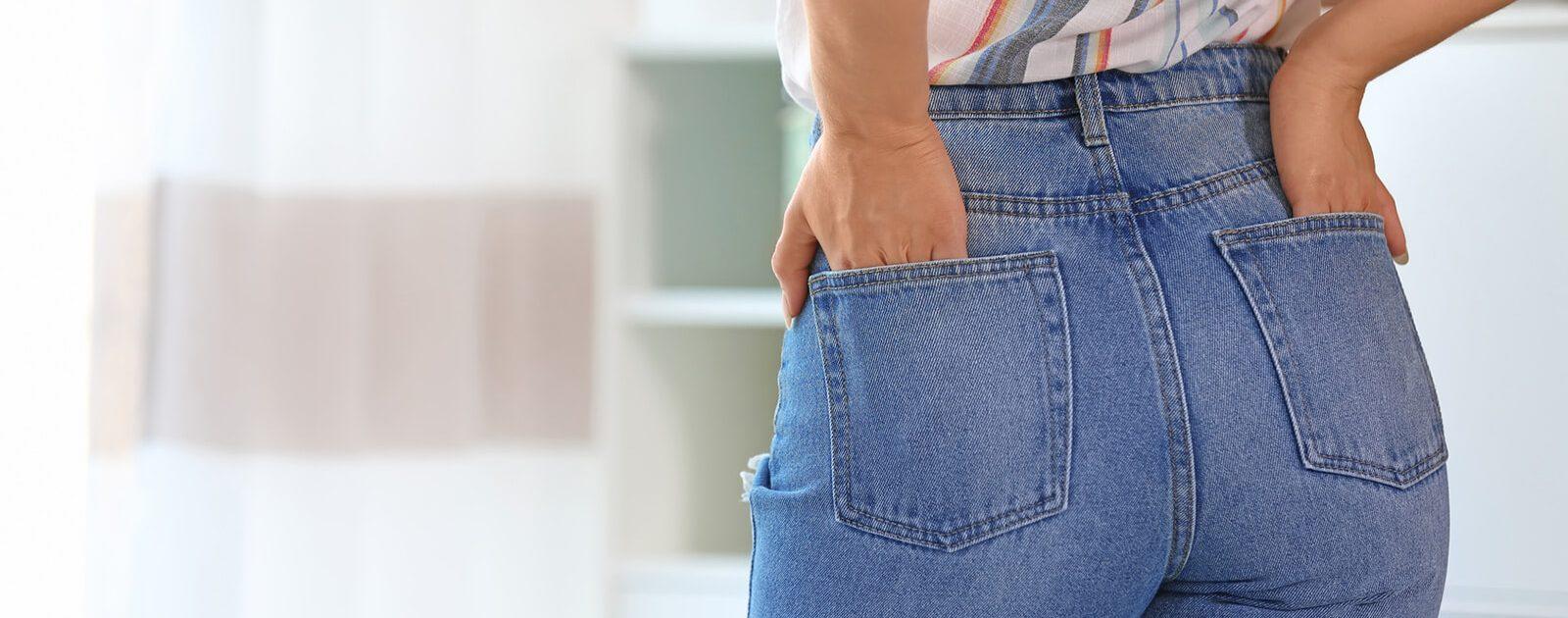 Rückansicht von Frauenpo mit Analfibrom